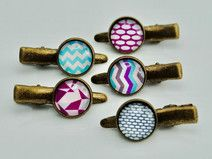 5 Haarklammern, Haarspangen bunte Geometrie