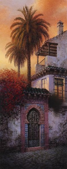 Luis Romero ~ Mosaic Walled Gate And Palm-Treed Courtyard Spanish Painters, Spanish Artists, Mini Paintings, Colorful Paintings, Art Espagnole, Mary Cassatt, Pablo Picasso, Vincent Van Gogh, Painting Techniques