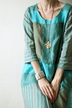 """Linen dress """"Patchwork"""" - абстрактный, мятный, платье женское, одежда для женщин, лён натуральный"""