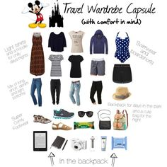 Travel Wardrobe - comfort in mind. Disney World. Disneyland. What to pack. Park touring. Travel clothes.