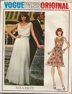 This vintage Vogue sewing pattern was designed by Nina Ricci in 1975. It makes a dress with a draped, cowl neckline and narrow shoulder straps. A circular skirt in two length options is gathered at the waist. Size 18: Bust 40 --- Waist 32 --- Hip 42. It is unused and still in factory folds. The instructions are included. The envelope is in good vintage condition.  To see more designer sewing patterns: https://www.etsy.com/shop/studioGpatterns?ref=hdr_shop_menu&sec...