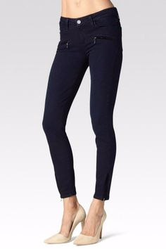 This Jane Zip style features our signature LEGACY fabric construction for added flexibility and support without sacrificing style. Modern fit technology is woven in for superior elasticity and an authentic denim look. The rich indigo Anderson wash black velvet welts and dangle zippers round out this jean's ultra luxe look. Jane Zip Denim by Paige. Clothing - Bottoms - Jeans & Denim - Skinny Orange County California