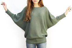 Pullover & Pullunder - Leichter Fledermauspullover aus Biowolle - ein…