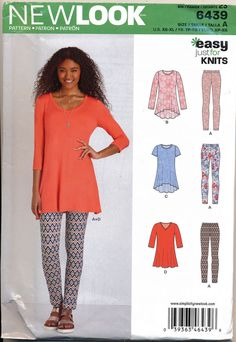 3258a2aada4e NEW LOOK SEWING PATTERN 6439 MISSES SZ 6-24 EASY TUNICS   LEGGINGS IN PLUS  SIZES