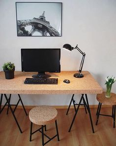 This is the first time we've seen the Ikea Sinnerlig range in a workspace! Cork workspace ideas from @niinaemilia   @workspacegoals