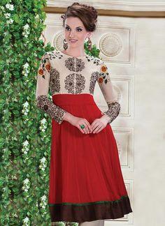 Red Georgette #Kurti