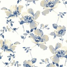 Ludor Blue Floral Wallpaper 268622040 by Brewster Wallpaper Floral Print Wallpaper, Embossed Wallpaper, Geometric Wallpaper, Flower Wallpaper, Wallpaper Roll, Wall Wallpaper, Pattern Wallpaper, Wallpaper Backgrounds, Floral Prints
