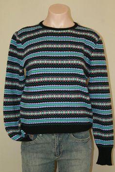 Vtg 100% Cashmere by Pringle of Scotland Striped Pullover Jumper Sweater sz S M #PringleofScotland #Casual