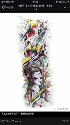 Leg Sleeve Tattoo, Full Sleeve Tattoos, Tattoo Sleeve Designs, Arm Tattoo, Geisha, Koi Tattoo Design, Back Tats, Tiger Dragon, Tattoo Templates
