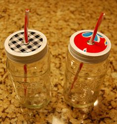 Mason Jar Water Bottles. Anytime Gift for my friends and co-workers :)) love the idea. You could buy the new lids and use some of the sauce jars we already buy then do the recycle/upcycle thing. - Pam