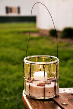 Glass & Wire Lantern, Votive Candle Holder, Hanging Glass Jar