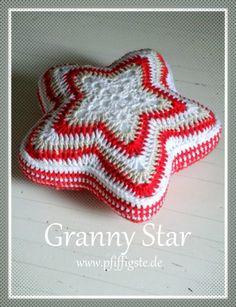 Granny Star Granny square gehäkelter Weihnachststern crocheted Grynny star häkeln häkelanleitung weihnachten shabby vintage stern sternenkissen kissen