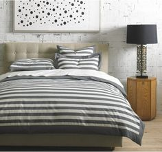 graphic stripe bedding makes a clean, classic accent in any room.