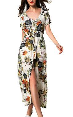 ARANEE Women's Printed V-neck Short Sleeve Wrap Waist Tie Long Maxi Dress,Apricot Floral,Medium