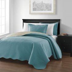 Chezmoi Collection Mesa 3-piece Reversible Bedspread King Size, Blue/Khaki