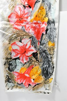 Vera Neumann Silk Rectangular Scarf Cream Red Yellow Gray Flowers Leaves Accessory Clothing by StarfishCollectibles on Etsy Detailed Image, Vintage Outfits, Vintage Clothing, Silk, Flowers, Red, Yellow, Etsy, Beautiful