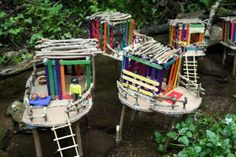 What a fun summer project, we can hide them in the backwoods@ the cabin.  houses on stilts. See other pix of