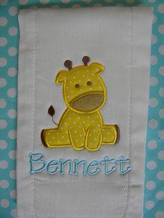 Custom boutique GIRAFFE baby boy Burp Cloth Personalized applique MONOGRAMMED. $7.99, via Etsy.