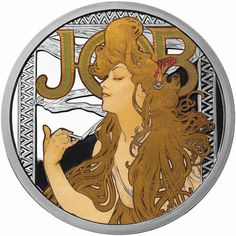 1 oz Proof Colorized Mucha Collection Job Silver Round from JM Bullion™ Jobs In Art, Coin Art, Silver Bullion, Alphonse Mucha, Silver Eagles, Silver Rounds, Coin Collecting, 1 Oz, Stamps
