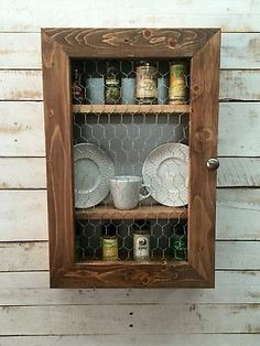This Spice Rack Cabinet Would Make For A Eye Catching Display In Your  Kitchen! Comes With Wood And Galvanized Metal In Back Of Cabinet And  Chicken Wire On ...
