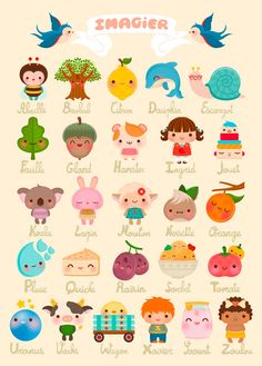 Kawaii-Cute French Alphabet Poster from Bukubuku. Kawaii Illustration, Illustration Mignonne, Illustration Artists, French Illustration, French Alphabet, Abc Alphabet, Alphabet Print, Alphabet Posters, Images Kawaii