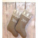 Amazon.com: hedgehogkingdom Handmade christmas stockings. Personalized christmas stockings Mrs and Mr Christmas stockings