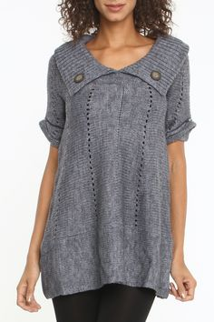 Chaudry Lindo A-Line Tunic Sweater in Gray - Beyond the Rack