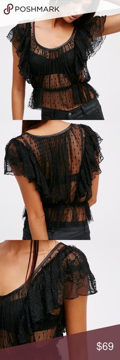 Free People Sweet Surprise Ruffled Tulle Black Top Mesh fabrication. Lacey design. Femme ruffles along the sleeves and a silky trim along the scooped neckline. Elastic at the waist for a defined silhouette. Free People Tops Blouses