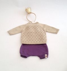 Girls clothing Outfit with knit lace sweater with by MarumaKids