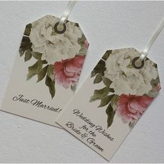 10 x Vintage/Shabby Chic Style Peony Wishing Tree Tags - Choice of wording