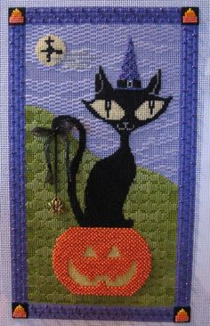 Eye Candy needlepoint black cat