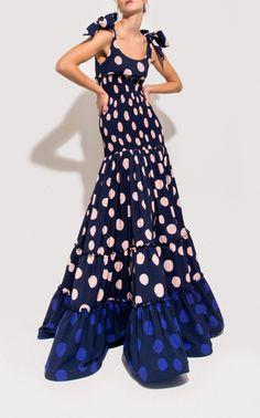 Polka Tiered Crepe Dress by Leal Daccarett Evening Dresses, Summer Dresses, Crepe Dress, Mode Inspiration, Ladies Dress Design, Beautiful Gowns, Dress Me Up, Dress Skirt, Nice Dresses