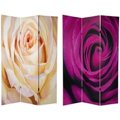 6 ft. Tall Double Sided Roses Room Divider Screen