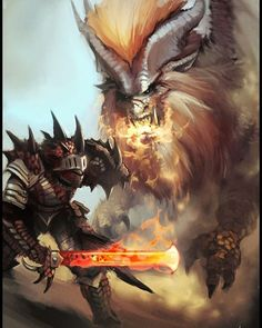 This art is beautiful. However you wouldn't use a fire sword on a fire elder dragon.