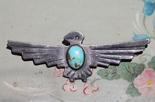 Vintage Navajo Sterling Silver & Turquoise Thunderbird Bar Pin Brooch