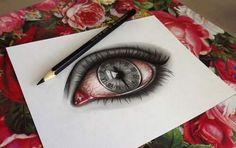 drawing, eye, and clock kép