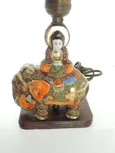 Antique Satsuma Japanese Moriage Elephant Lamp Goddess Of Mercy Enamel Antiques Goddesses