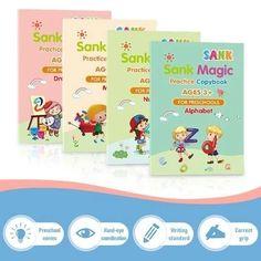 Kids Magic Practice Copybook - A set ( 4 copybooks with pencil grip set)