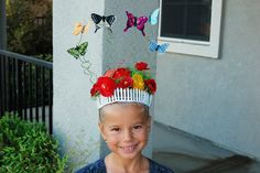 crazy hair day ~ rose garden with butterflies -mini picket fence, hair spray painted green with flowers clipped