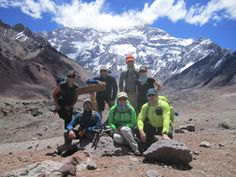 The Aconcagua Continuing Medical Education Expedition Team at the Plaza Francia View Point with the famed South Face of Aconcagua in the background.  © 2012 Andes Mountain Guides