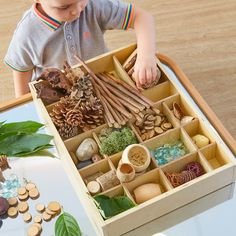 "A rustic, printer-style tray with different-sized compartments for a multitude of uses. Use for sorting and classifying material or fill with an array of interesting, detailed objects to create your own ""tinker tray"". Perfect for sorting counters, art supplies and other treasures to create an engaging invitation to play. Ideal for loose part play."