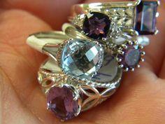 Amethyst rings! One is a blue topaz!