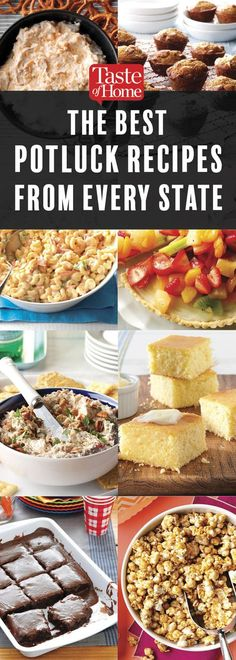 These are the Best Potluck Recipes from Every State Planning a potluck or searching for a dish to pass? Look no further. We found the best potluck recipes submitted by home cooks in every state. Potluck Desserts, Best Potluck Dishes, Church Potluck Recipes, Main Dish For Potluck, Easy Potluck Recipes, Healthy Potluck, Potluck Salad, Potluck Dinner, Summer Potluck