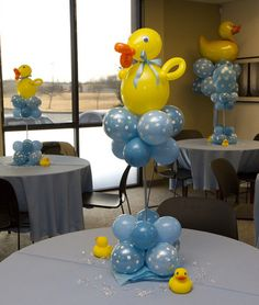 Rubber Ducky Baby Shower Balloon table topper decoration idea