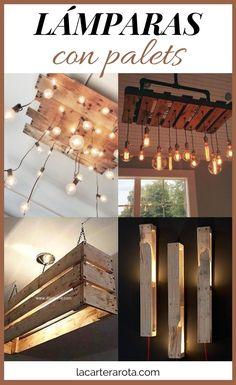 Con las lámparas con palets se pueden conseguir unos efectos en la decoración muy interesantes. Se mezcla la calidez de la iluminación LED con el aspecto acogedor de la madera. Led, Pergola, Outdoor Structures, Cozy, Ceiling Light Fixtures, Industrial Design, Home Decorations, Outdoor Pergola