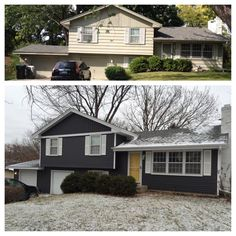 Great split level exterior remodel in ny trim and siding for Tri level home makeovers