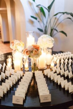 Enhance the elegance of your escort card display with mix-and-match candles! {@megclouse}