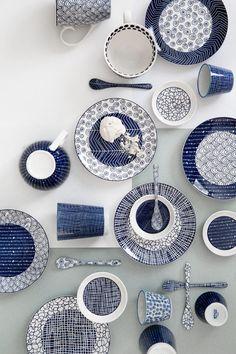 Opdrachtgever, Millermedia voor Tokyo Design Studio. Styling, Iris van der Meer. Fotografie, Peggy Janssen. Servies, tableware, ceramics, food, colorful, blue, creative, print, white, still