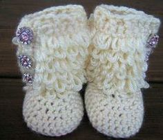 baby white uggs with bling | Crochet Baby Booties Furry Ugg Inspired Loopy Diva Boots 6 months to 1 ...