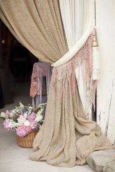 Simple yet Elegant Burlap Curtain - Love the tie back with tassles